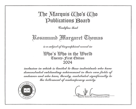 Dr Rosamund Thomas Who's Who Certificate